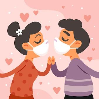 Casal desenhado a mão se beijando com ilustração de máscara cobiçosa