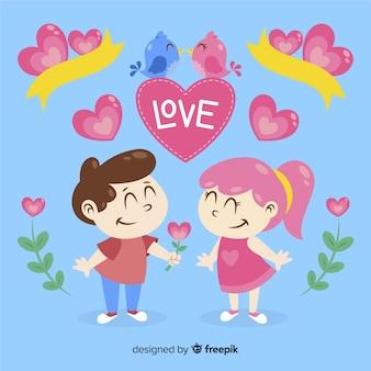 Casal desenhado mão colorido