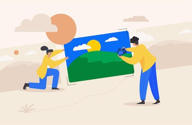 Casal desenhando conversa, ilustração estilo cartoon