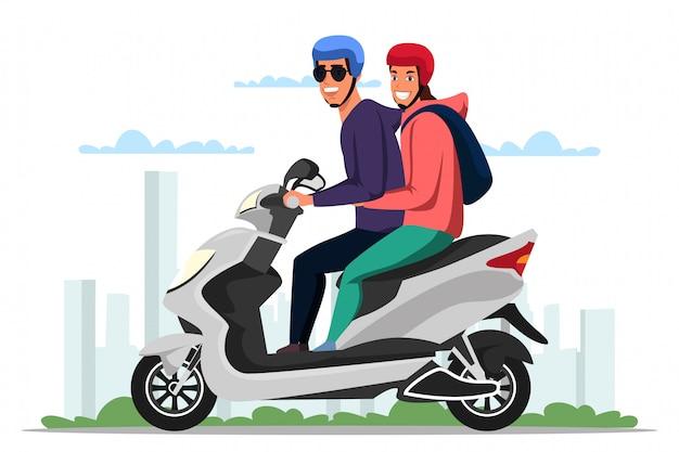 Casal dirigindo motoneta sobre desenho animado da paisagem urbana