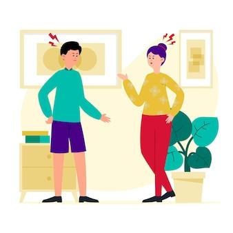 Casal discutindo em casa