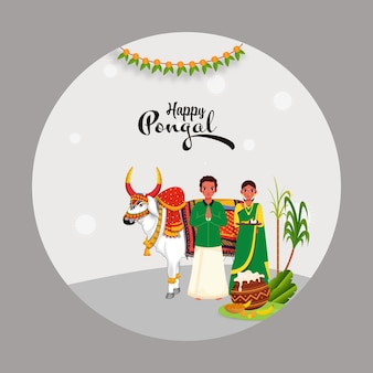 Casal do sul da índia cumprimentando com personagem de boi