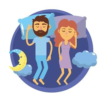 Casal dormindo juntos com bons sonhos