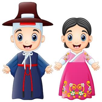 Casal dos desenhos animados coreano vestindo trajes tradicionais