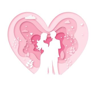 Casal dos namorados dançando papel de cortar coração