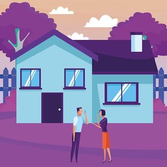 Casal e casa