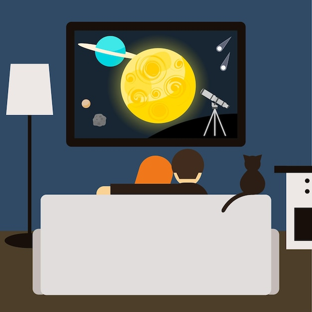 Casal e gato assistindo filme de ficção científica juntos na televisão, sentado no sofá da sala. ilustração de estilo moderno simples para uso em cartão de design, convite, cartaz, banner, cartaz