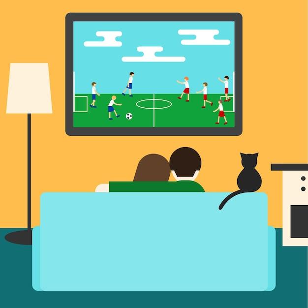 Casal e gato assistindo futebol juntos na televisão, sentado no sofá da sala. ilustração de estilo moderno simples para uso em cartão de design, convite, cartaz, banner, cartaz, capa de outdoor