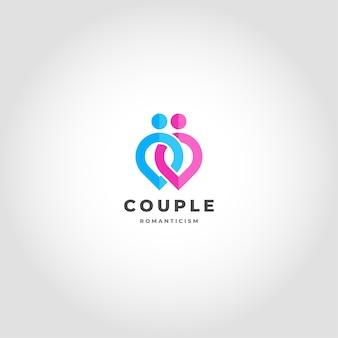 Casal é um logotipo de relacionamento ligado conceito de ponto humano