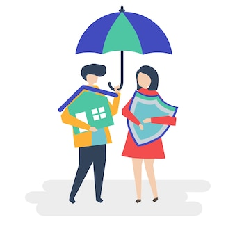 Casal e uma ilustração do conceito de seguro de casa
