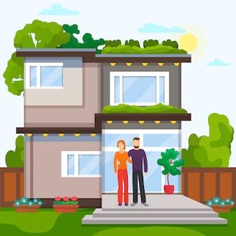 Casal em casa, ilustração. exterior da casa propriedade imobiliária, venda residencial edifício personagem de desenho animado homem mulher.