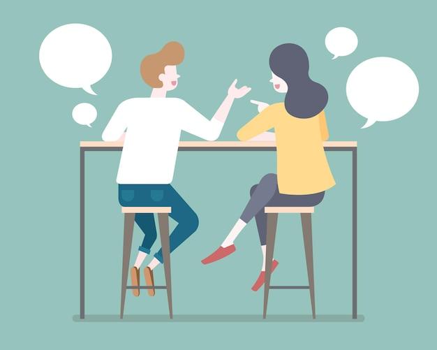 Casal em estilo simples conversando em bancos de bar com ilustração de bolha de bate-papo