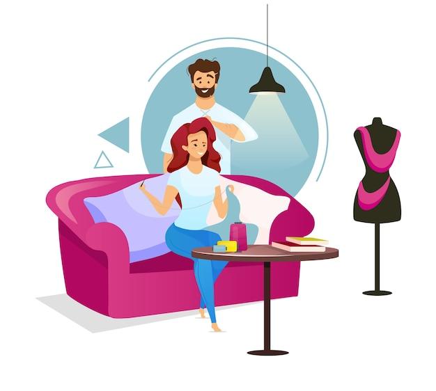 Casal em estúdio de costura design plano ilustração colorida