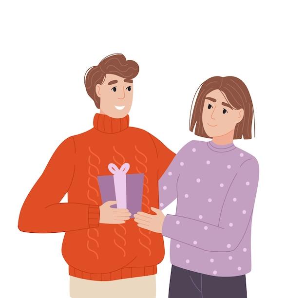Casal em festa troca de presentes