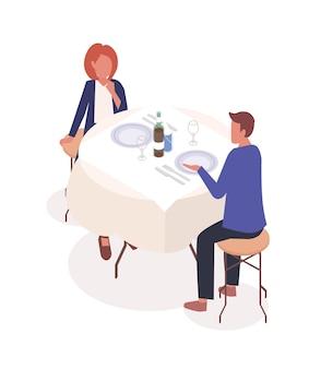Casal em ilustração isométrica de restaurante