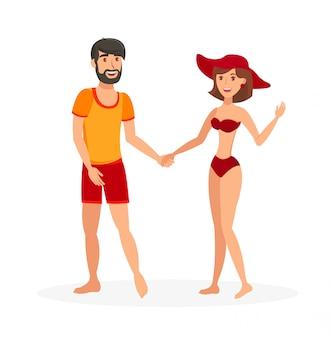 Casal em ilustração vetorial de beachwear