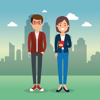 Casal em personagens da paisagem urbana