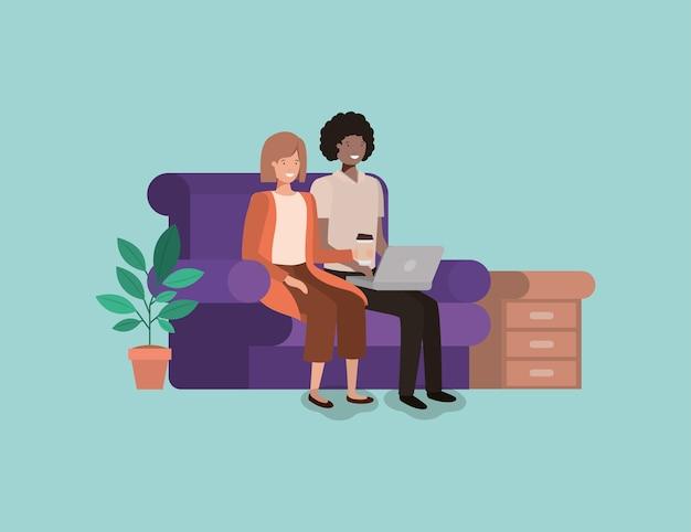 Casal em personagens de avatares de sala de visitas