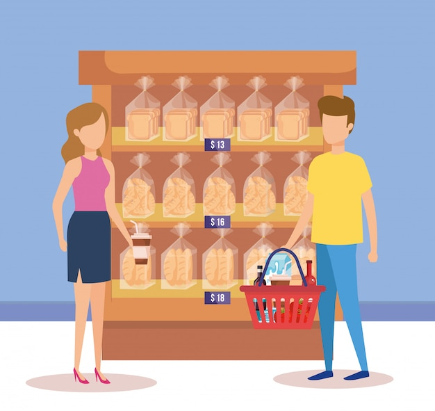 Casal em prateleiras de supermercado com sacos de pão