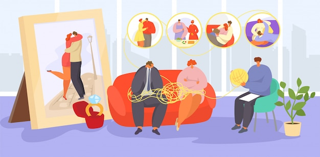 Casal em psicoterapia, pessoas tristes da família adulta dos desenhos animados visitam o psicoterapeuta para aconselhamento, ajuda no problema emocional