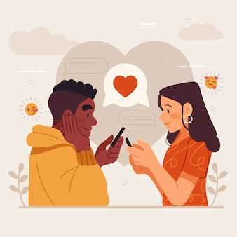 Casal em relacionamento à distância