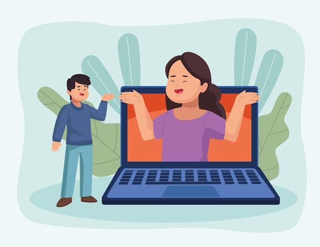 Casal em reunião virtual