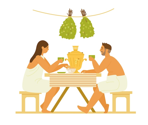 Casal em toalhas de beber chá de samovar na sauna ou banya. ilustração plana. isolado no branco.