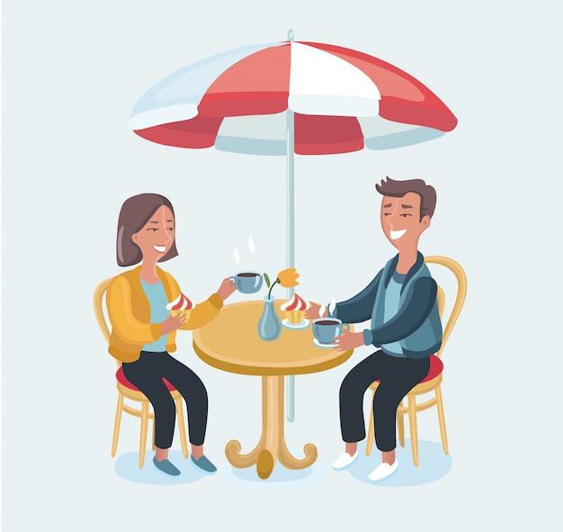 Casal em um café. ilustração dos desenhos animados em estilo retro