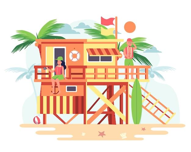 Casal em uma casa de madeira na praia com coqueiros ao fundo.