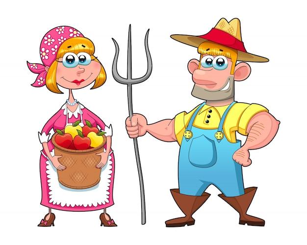 Casal engraçado de agricultores vector personagens de desenhos animados