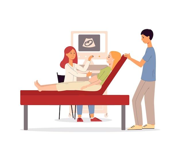 Casal esperando bebê na consulta médica
