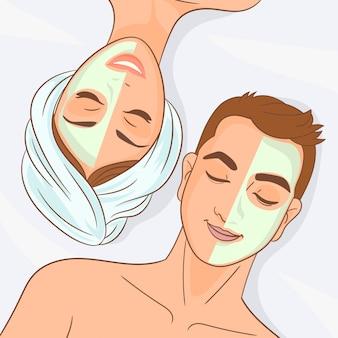 Casal está relaxando em um spa