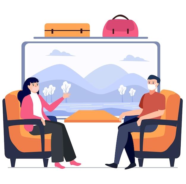Casal está viajando juntos usando ilustração de trem