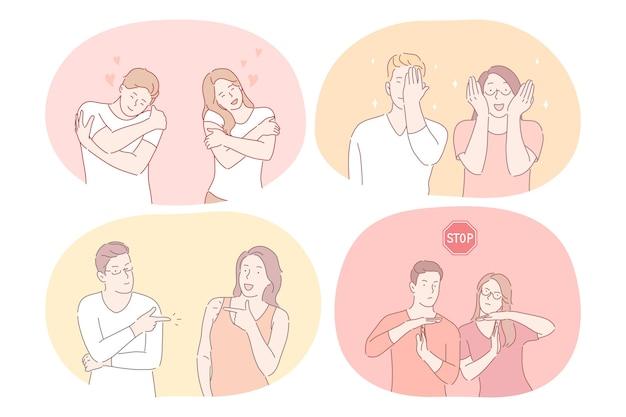 Casal expressando diferentes emoções e sinais com o conceito de mãos.