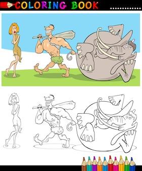 Casal familiar cavemen para colorir