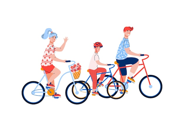 Casal familiar com criança andando de bicicleta, desenhos animados atividade esportiva familiar, recreação conjunta e estilo de vida saudável.