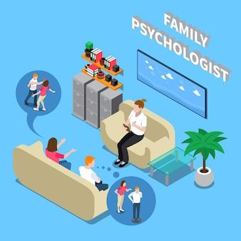 Casal familiar durante a recepção no psicólogo, composição isométrica com elementos interiores em ilustração vetorial de fundo azul