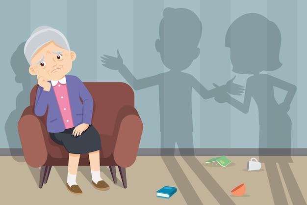 Casal familiar infeliz no sofá brigando no fundo