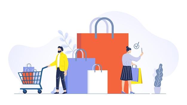 Casal faz o conceito de compras. homem e mulher com sacolas com compras, personagem masculino com carrinho, comprando produtos