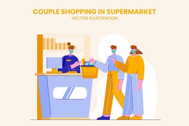 Casal fazendo compras em ilustração plana de supermercado