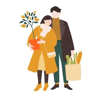 Casal fazendo compras para casa. jovem mulher segurando um vaso de plantas de limoeiro, homem carregando uma sacola com pão e salada. ilustração vetorial.