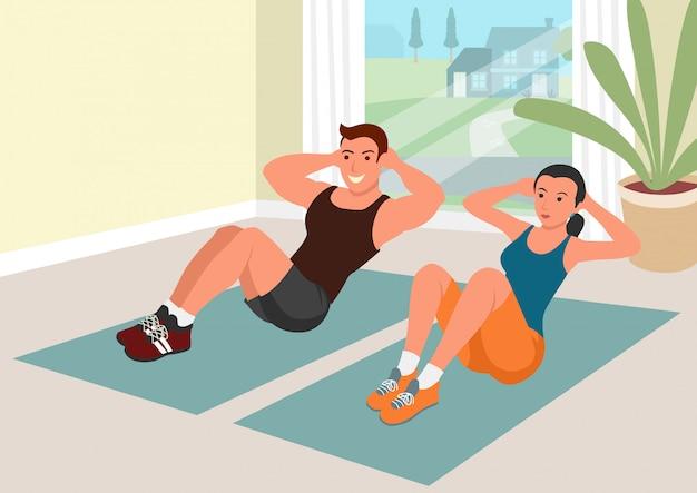 Casal fazendo exercícios juntos em casa durante a quarentena