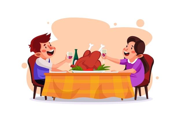 Casal fazendo ilustração do jantar de ação de graças