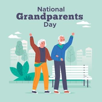 Casal feliz, acenando o dia nacional dos avós