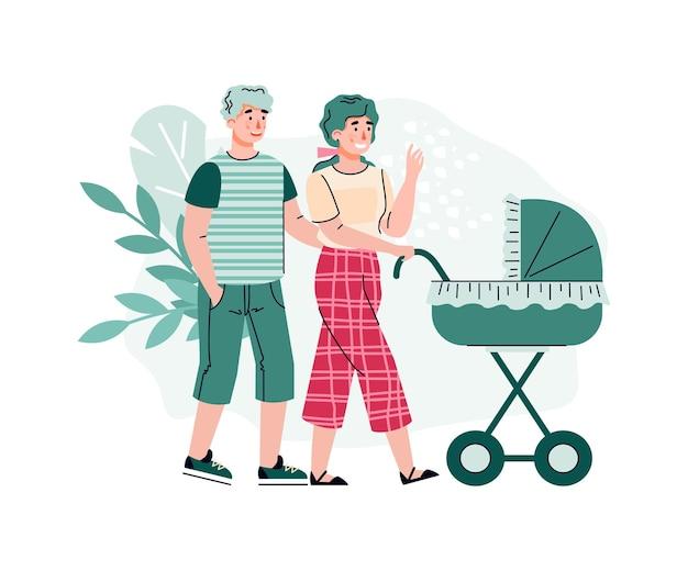 Casal feliz andando com desenho de carrinho de bebê isolado.