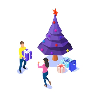 Casal feliz, árvore de natal e caixas de presente em fundo branco. isométrico