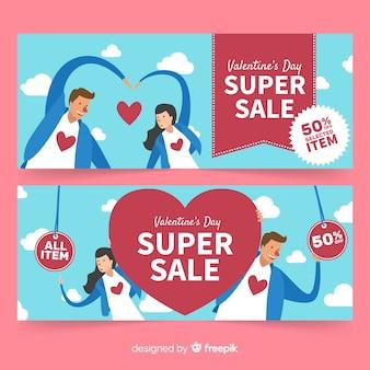 Casal feliz banner de venda dos namorados