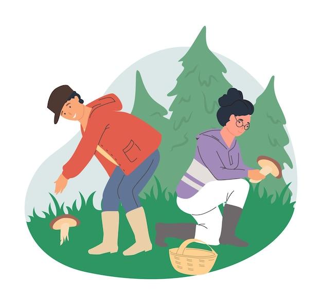 Casal feliz caminhando pela floresta colhendo cogumelos na planície
