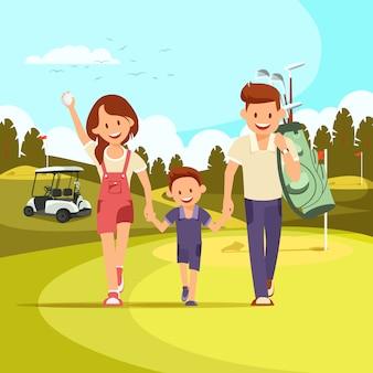 Casal feliz com clubes de golfe levando o filho a jogar golfe
