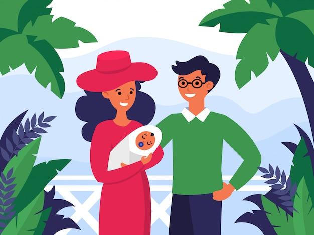 Casal feliz com criança recém-nascida de férias